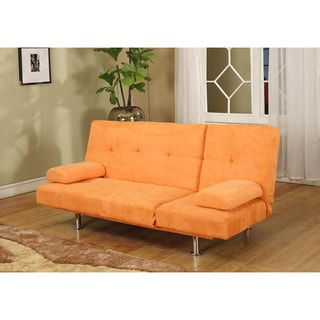 Orange Microfiber Contemporary Klik-Klak Sofa Bed
