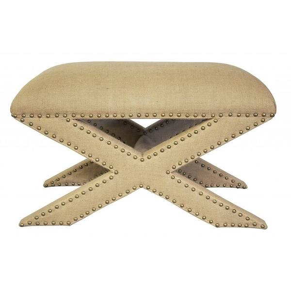 Classic Beige Embroidered Ottoman