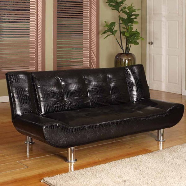 Crackle Black Tufted Klik-Klak Sofa Bed