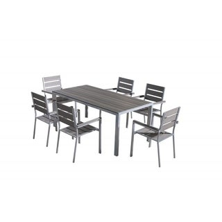 Beliani Vernio Aluminium Patio Poly Wood Top Dining Set