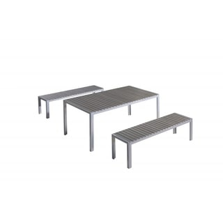 Nardo Aluminium and Faux Wood Garden Dining Set with Benches