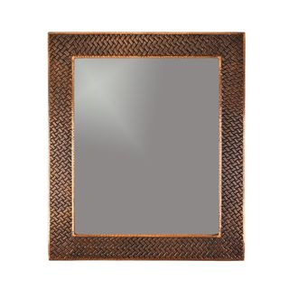 36-inch Hand Hammered Rectangle Copper Mirror with Decorative Braid Design