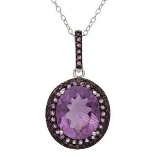 Gioelli Sterling Silver Black Rhodium Round Amethyst Designer Pendant Necklace
