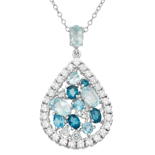 Gioelli Sterling Silver Multi-color Topaz and Cubic Zirconia Pear Shaped Pendant Necklace