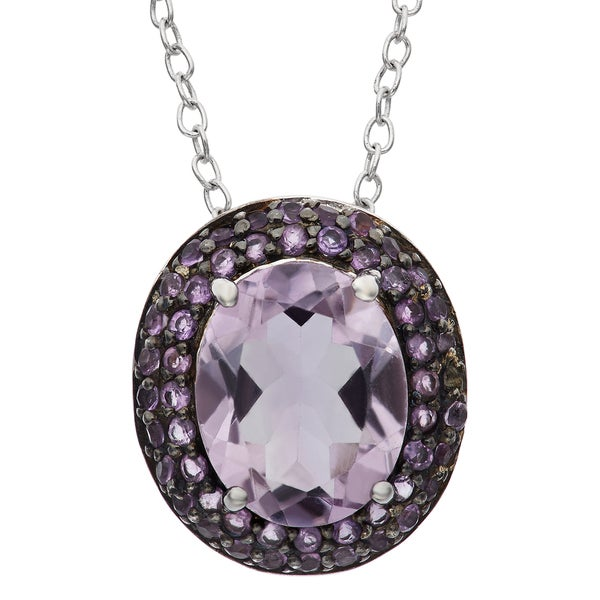 Gioelli Black Rhodium-plated Sterling Silver Round Oval Amethyst Pendant Necklace