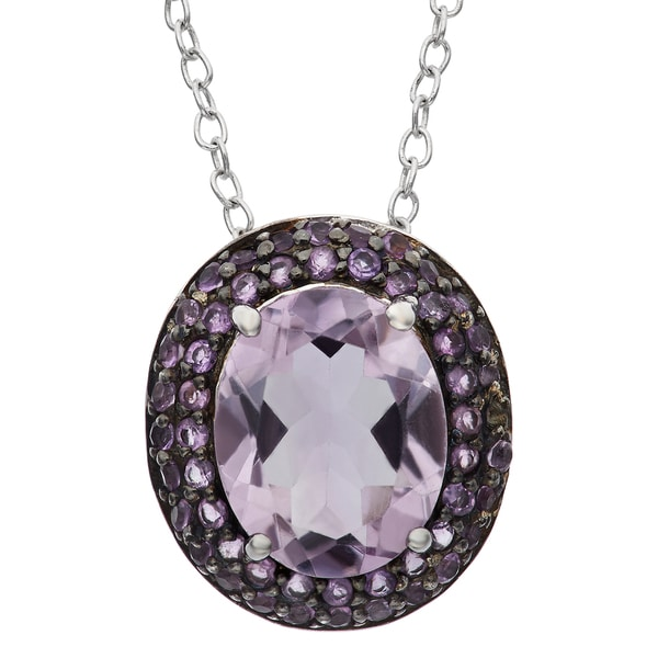 Gioelli Black Rhodium-plated Sterling Silver Round Oval Amethyst Pendant Necklace 13903326