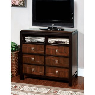 Furniture of America Anteia Acacia and Walnut Media Chest