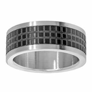 Two-tone Stainless Steel Square Texture Design Ring