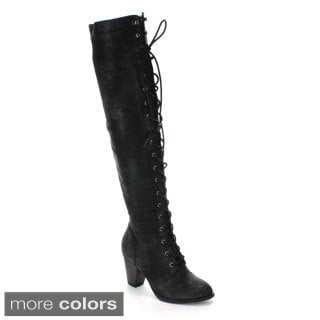 Forever Women's 'Camila-48' Over-the-knee Low Heel Riding Boots