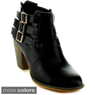 Machi Women's 'Cage-2' Buckle Strap Cut-out Chunky Booties
