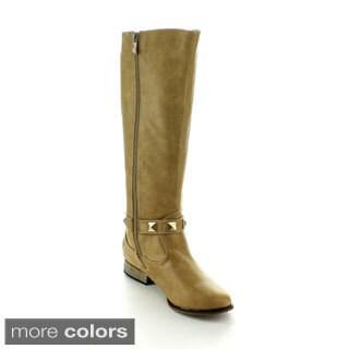 Machi Women's 'Dalton-2' Studded Knee-high Riding Boots