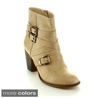 Machi Women's 'Cage-4' Buckle Strap Chunky Ankle Booties