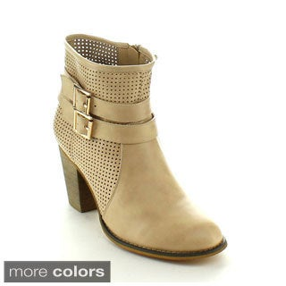 Machi Women's 'Cage-3' Perforated Chunky Ankle Booties