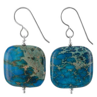 Ashanti Sterling Silver Blue Ocean Jasper Gemstone Handmade Earrings (Sri Lanka)