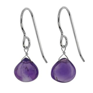 Ashanti Sterling Silver Amethyst Gemstone Handmade Earrings (Sri Lanka)