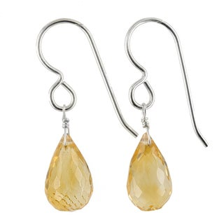 Ashanti Sterling Silver Golden Citrine Briolette Gemstone Handmade Earrings (Sri Lanka)