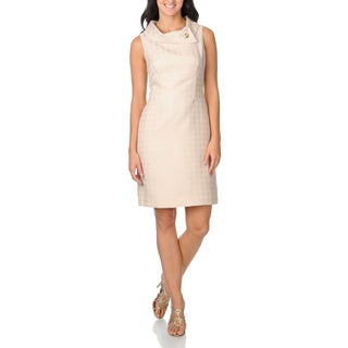 Tahari ASL Women's Champagne Gold Herringbone Dress