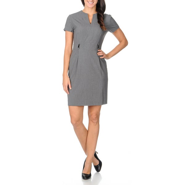 Tahari ASL Women's Charcoal Pocket Shift Dress