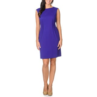 Tahari ASL Women's Purple Pleated Detail Dress