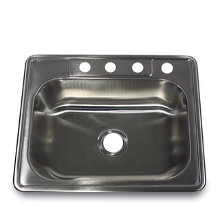 25 Inch 20-Gauge Drop-In Stainless Steel Kitchen Sink with Bottom Grid and Drain