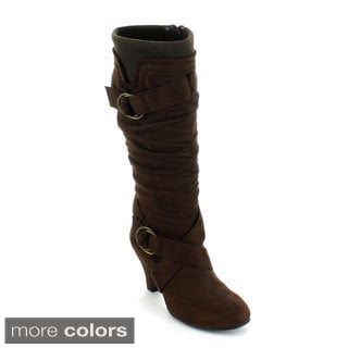 Forever Women's 'Maggie-68' Kitten-heel Knee-high Boots