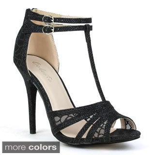 Celeste Women's 'Wendy-02' Lace Accent High-heel Dress Sandals