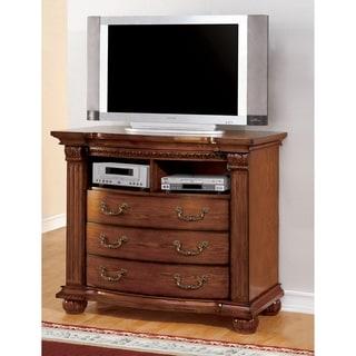 Furniture of America Hesperia Traditional Antique Tobacco Oak Media Chest