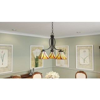 Asheville 3-light Valiant Bronze and Art Glass Dinette Chandelier