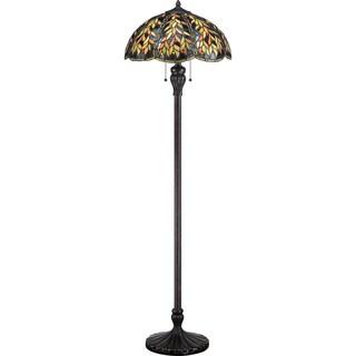 Belle 2-light Imperial Bronze Floor and Art Glass Lamp