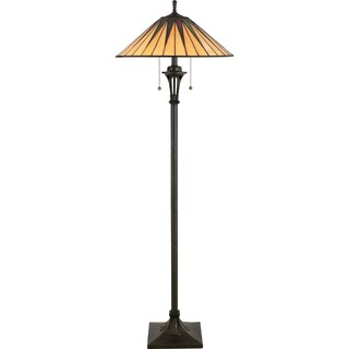 Gotham Vintage Bronze and Art Glass 2-light Floor Lamp