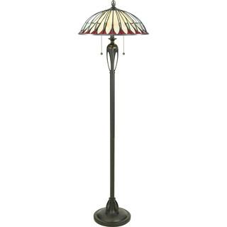 Alahambre Burnt Cinnamon and Art Glass 2-light Floor Lamp