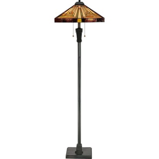 Stephen 2-light Vintage Bronze and Art Glass Floor Lamp