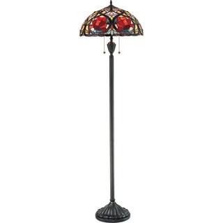 Larissa 2-light Vintage Bronze and Art Glass Floor Lamp