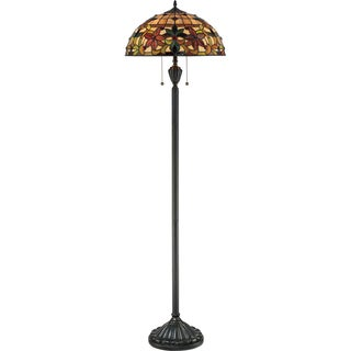 Kami 2-light Tiffany Glass and Vintage Bronze Floor Lamp