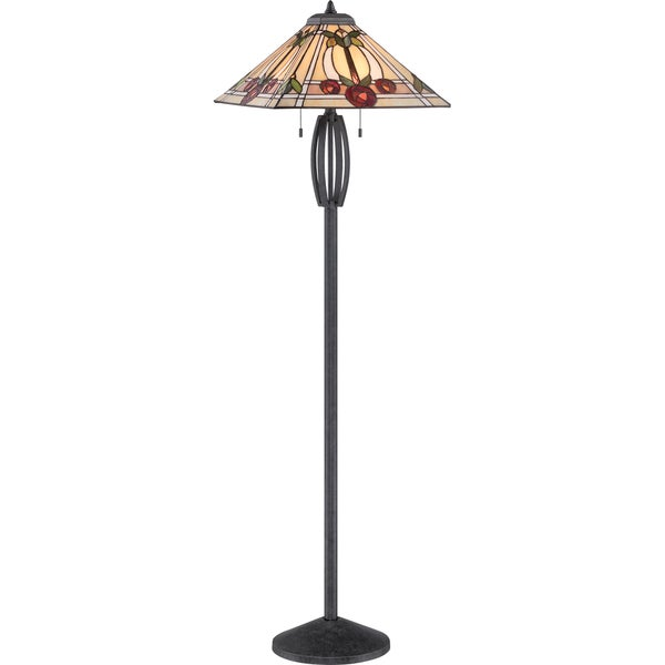 Ruby 2-light Vintage Black Floor Lamp