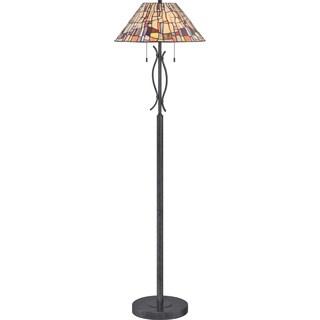 Stinson 2-light Vintage Black Floor Lamp