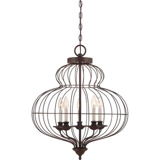 Laila 5-light Rustic Antique Bronze Cage Chandelier