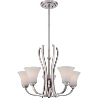 Kemper 6-light Brushed Nickel Chandelier with White Glass Shades