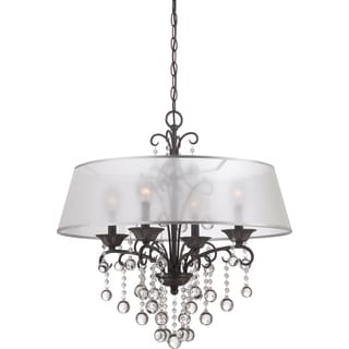 Carrabelle French Bronze and Crystal Drop 4-light Chandelier