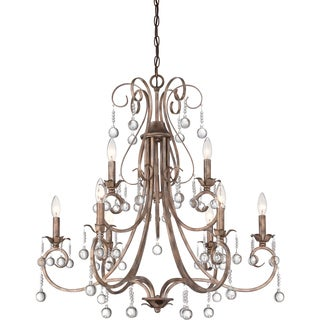 Capulin Empire Goldtone and Crystal Double Tier 9-light Chandelier