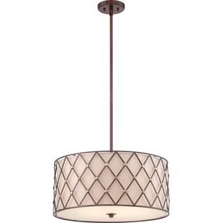 Brown Lattice Copper Canyon 3-light Pendant