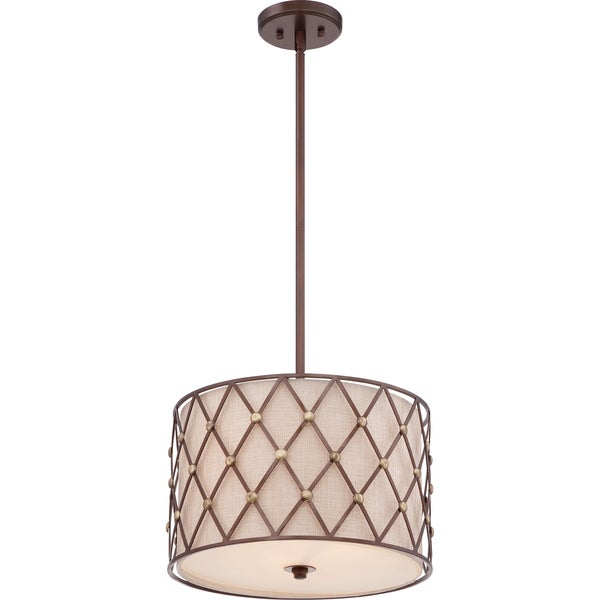Brown Lattice Copper Canyon 3-light Pendant