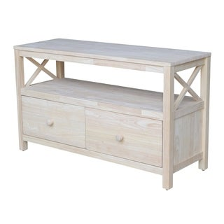Unfinished Solid Parawood X-sides TV Stand