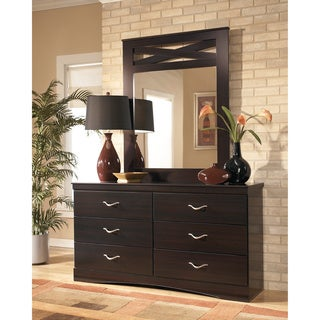 Signature Design by Ashley X-cess Merlot Dresser and Mirror