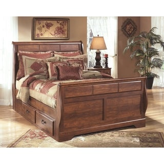 Signature Design by Ashley Timberline Queen-size Warm Brown Sleigh Storage Bed
