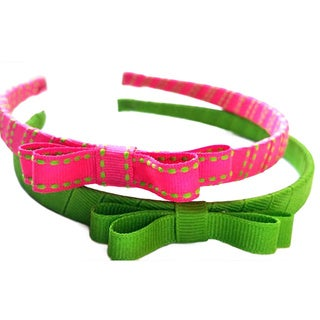 Crawford Corner Shop Pink and Green 1/2-inch Wide Headbands (Set of 2)