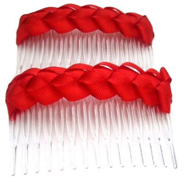 Crawford Corner Shop Red Braided Hair Comb Accessory (Set of 2)