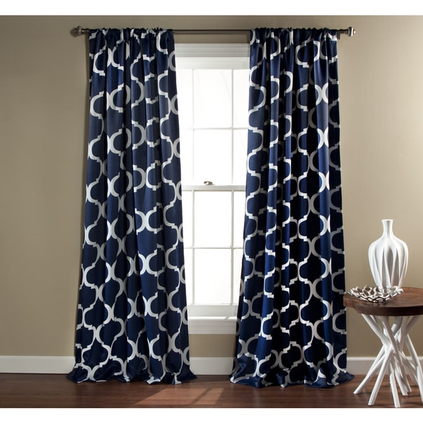 Wall To Wall Curtain Rod Navy and Burlap Curtains