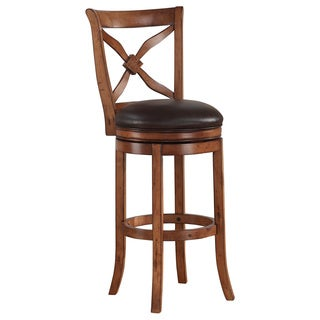 Greyson Living Lucca Brown Swivel Wood Counter Stool
