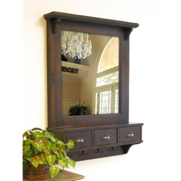 Bombay Brown Wall Mirror with Drawers and Hooks